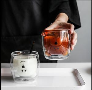 Double glass ins bear breakfast cup heat resistant lovely couple milk drink juice cup Double deer glass Drinkware