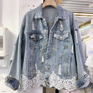 2020 Autumn New Denim Jacket for Women Heavy Industry Beaded Diamond Lace Loose Jeans Coat Woman Casual Holes Jean Jackets Mujer