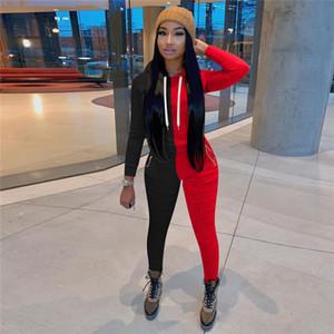 Stacked Дизайнер женщин костюмы Мода Щитовые Contrast Женщины Длинные Sleeeve Брюки с капюшоном Тонкий спортивный комплект одежды