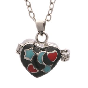 10PCS Brass Heart shape Pattern Open Ash Photo Box Pendant star moon Necklace Commemorative Free Chain