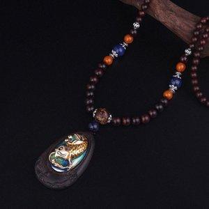Черный палисандр ювелирные изделия женщины дерева ювелирные изделия ожерелье год сбора винограда, Маленький карп прыгает портальный перламутровым блеском Будды этнических ожерелье B5ri #