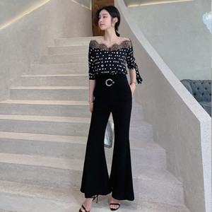 2020 Summer Lace Jumpsuit for Women Full Length Black White Color Mesh Chiffon Vintage Dot Boot Cut Jumpsuits with Pocket