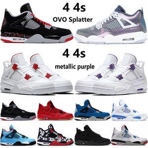 New 4 ovo Splatter 4S metálicos roxo jumpman vermelho tênis de basquete gato preto que os criados Monsoon azuis dos homens do encore sneakers