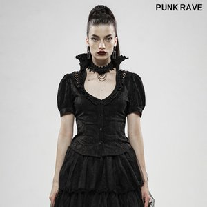 Classic black Jacquard High Collar Bubble Sleeves Slim Fit Sexy Shirt fashion Fairy Tale Power Women Blouse PUNK RAVE WY-1129CDF