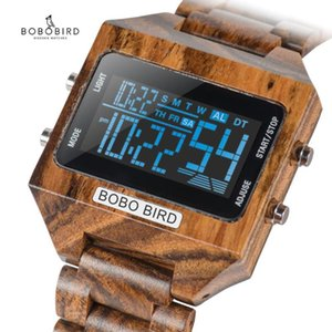 BOBOBIRD Men Digital Watches Wood 4 Variable Colors Multi-function LED Display reloj inteligente hombre with Wood Gift Box V-S30