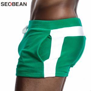 SEOBEAN Men Homewear Shorts Sexy Low Waist Cotton Super Soft Comfortable Home Male Panties Boxer Shorts Casual Short Pants T200718
