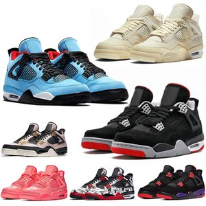 Chaussure de basket-ball off white sail 4 air jordan retro 4s travis scott JUMPMAN pour hommes New Bred IV Raptors Baskets de tatouage de chat noir Vert Métallisé Femmes Baskets