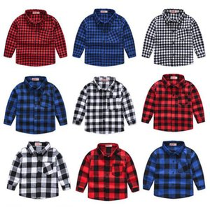 Kids Designer Clothes Plaid Boys Shirts with Pocket Long Sleeve Children Tops Classic Toddler Tees Casual Kids Clothing 9 Color DW4769