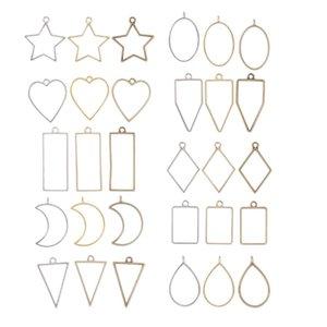 30x Assorted Geometric Hollow Bezel Pendant for Resin Earrings Necklace Bracelet Making