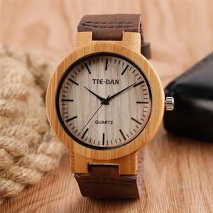 Vintage Antique Wood Nature Watch Мужские Аналоговые кварцевые наручные часы с коричневой кожей браслет диапазона римском номер циферблатом Часы Подарок семьи