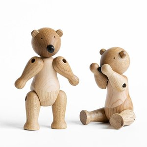 1pc Happy Birthday Crafts Wooden Bear Ornaments for Smart Home Decor Puppets Display Jewelry Accessories Shop Luxury