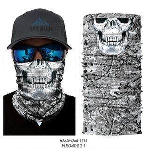 3D 위장 페이스 마스크 스컬 카모 넥 게이터 야외 원활한 두건 버프 하이킹 스카프 얼굴 방패 두건 마스크
