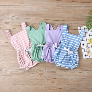 Kids Clothes Girls Stripe Backless Romper Newborn Infant Sling Short Jumpsuits 2020 Summer Fashion Baby Climbing Clothing