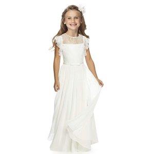 Fashion Girl Cotton Prinzessin Dress der Sommer-Kinder-Hochzeit Kleidung Mädchen Chiffon All White Beach Kleid beste Partei-Kind-Kleidung T200709