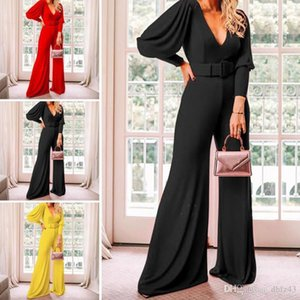 Women Solid Color Deep V Neck High Waist Jumpsuit Casual Pants Clubwear Outfit