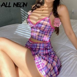ALLNeon E-Girl Purple Plaid Camis Tops and Skirts Sets Sweet Spaghetti Strap V-neck with Lace Matching Sets Vintage Summer Suit