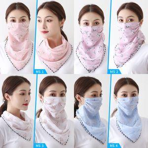 Donna Parasole maschere sciarpa di chiffon Veil signore Summer Beach Fashion Turbante antipolvere maschere Veil 45 Patterns