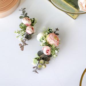 Handmade Greenery Hair Comb Bride Head Piece Pink Flower and Leaf Headwear for Wedding Ceremony
