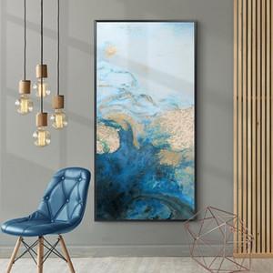 Абстрактная картина масло Большого Nordic Wall Art Canvas Синего постер и печать Living Room Decoration Столовой Wall Art Pictures Home Decor