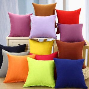 18*18 Inch Home Pillowcase Pure Color Polyester White Pillow Cover Cushion Cover Decor Pillow Case Blank christmas Decor EEA1773