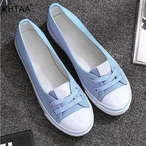 2020 de la moda superficial KHTAA Women de la lona vulcanizada plana cómoda de la manera con cordones de zapatos ocasionales respirables blanco negro Y200424fca1 femenina #