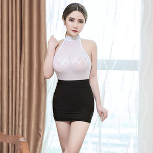 Tight short dress Temptation women erotic clothing Sexy secretary costume Smooth high transparent polychromatic collocation suit