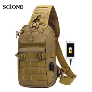 USB Charging Chest Bag Tactical Army Shoulder Sling Fishing Camping Hiking Bags Travel Duffle Mochila Outdoor XA873WA