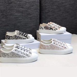 Kadınlar Mavi Tuval Eğik Sneaker Teknik Nakış Örme Kumaş Ayakkabı Mesh Walk'N'Sneaker Çiçek Dantel-up Casual Trainer ile Kutusu