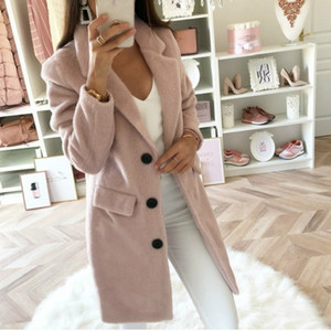 Women 2020 Winter Coats and Jackets Plus Size Long Wool Warm Korean Elegant Vintage Coat Three Buttons Cloak Cape Solid Jacket