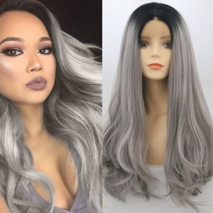 Natural Wave Long Heat Resistant Synthetic Lace Front Wigs With Baby Hair 180% Density Gray Wig Glueless Ombre Hair Wig For Black Women
