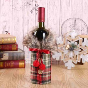 Christmas Wine Set Fashion Plaid Bow Knot Bottle Bag Wine Bottle Cover Festive Party Christmas Decorations ZZA2463 Sea Shipping