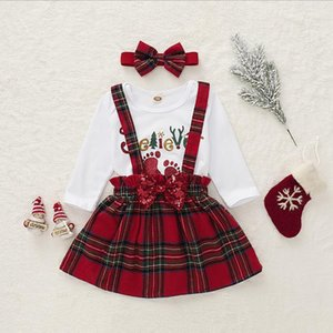 Baby Girl Clothes Infant Girls Letter Romper Plaid Skirt Bow Headband 3pcs Sets Christmas Children Outfits Boutique Baby Clothing DW4808