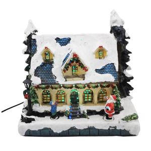 Fibra óptica LED de luz decorativa Casa de Navidad Village y árboles