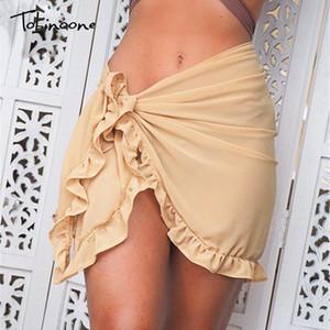 Tobinoone 새로운 컬렉션 디자인 2020 여름 치마 여성 프릴이 비대칭 섹시한 스커트 미니 Bodycon 클럽 비치 스커트