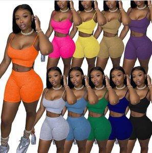 бесплатно 10 цвет лета женские Tracksuit Сплошной цвет случайных женщин одежда 2 шт набор сексуальные подтяжки Tops шорты костюм плюс размер S-XL