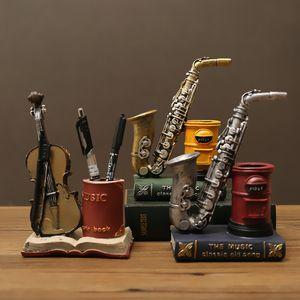 American Retro Saxophone Скрипка Модель Ручка Держатель European Desktop Коробка для хранения Офис Студент Декоративные Канцелярские товары Бесплатный DHL
