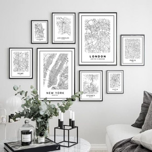 Paare London New York City Karte Leinwand-Malerei-Plakat, Sydney Rom Austin Modern World City Karte Leinwand Home Decoration