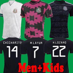Oyuncu Sürüm 2020 2021 Meksika Futbol Forma Milli Ev Kırmızı 20 21 Siyah Chicharito LOZANO Guardado CARLOS VELA RAUL Futbol gömlek çocuk