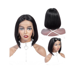 human hair lace front wigs lace front short bob human hair wigs brazilian virgin remy human hair natural color 13*4 frontal wigs