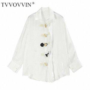 lose Vintage-Bluse Unregelmäßige Horn Buckle Frauen Kleidung volle Hülsen-Down-Kragen Spiel All Personality weißes Hemd DMY3671 RCpn # Drehen