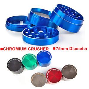 Factory Wholesale Sharpstone Chromium Crusher 75mm Big Grinder 4 Parts Rainbow Grinder Tobacco Zinc Alloy Grinders For Smoking Herbal