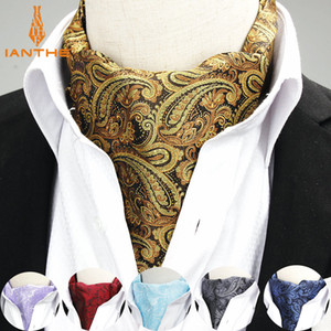 2020 Brand New Jacquard Men's Vintage Jacquard Mens Long Paisley Navy Cravats Novelty Wedding Slim Ascot Tie For Men Neckties