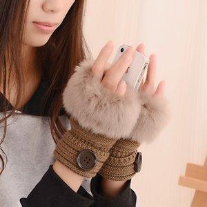 L'autunno e Button calda lana studente imitazione coniglio pelliccia guanti mezzi della barretta caldi d'inverno stile coreano delle donne dei pulsanti