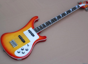 Factory Direct Sale 4 Strings Cherry Sunburst Electric Bass with White Pickguard,Rosewood Fretboard,Providing Customized Service