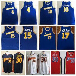 Hombres Stephen Curry de oroEstadoguerrerosNBA 10 Tim Hardaway 4 Chris Webber 17 Chris Mullin 15 Baloncesto Jersey Sprewell Latrell