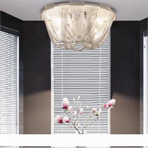 현대적인 스타일 실버 천 예술 펜던트 램프 체인 술 알루미늄 체인 스트림 아틀란티스 샹들리에 램프 서스펜션 천장 조명