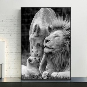 Wall Art Pictures Home Decor On Afrika Lions Aile Siyah Ve Beyaz Tuval Sanat Posterler Ve Baskılar Hayvanlar Tuval Tablolar