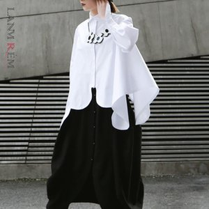 LANMRME 2020 Nuova Primavera Estate risvolto manica lunga bianco bordo irregolare Cut Stitch irregolare Big Maglietta camicetta delle donne JO195