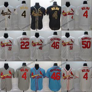 St. Louis 4 Yadier Molina Jersey 22 Jack Flaherty 46 Paul Goldschmidt 50 Adam Wainwright costurado Homens Mulheres Baseball Jerseys