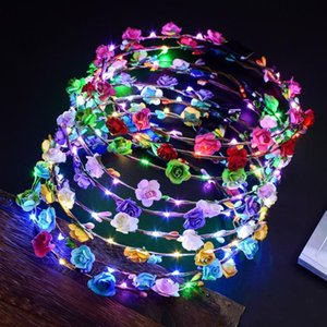 LED Glow Flower Crown Headbands Light Party Rave Floral Hair Garland Wreath Wedding Flower Girl Headpiece Decor